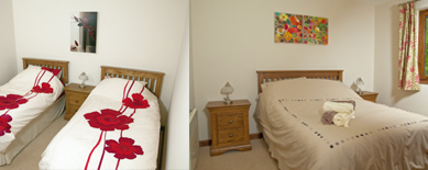 one double and one twin bedroom at waldon valley self catering lodge in devon