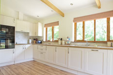 a view of the kitchen area at Waldon Valley self catering lodge in devon