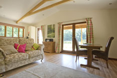 view of the open-plan lounge and dining area at Hazel lodge in devon